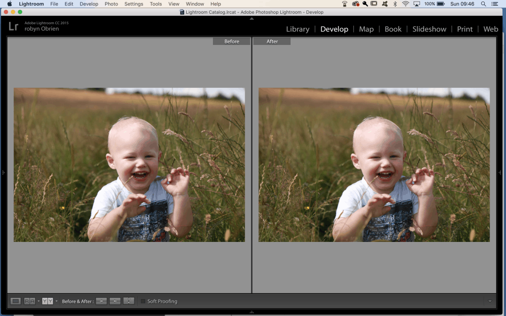 lightroom before and after screen