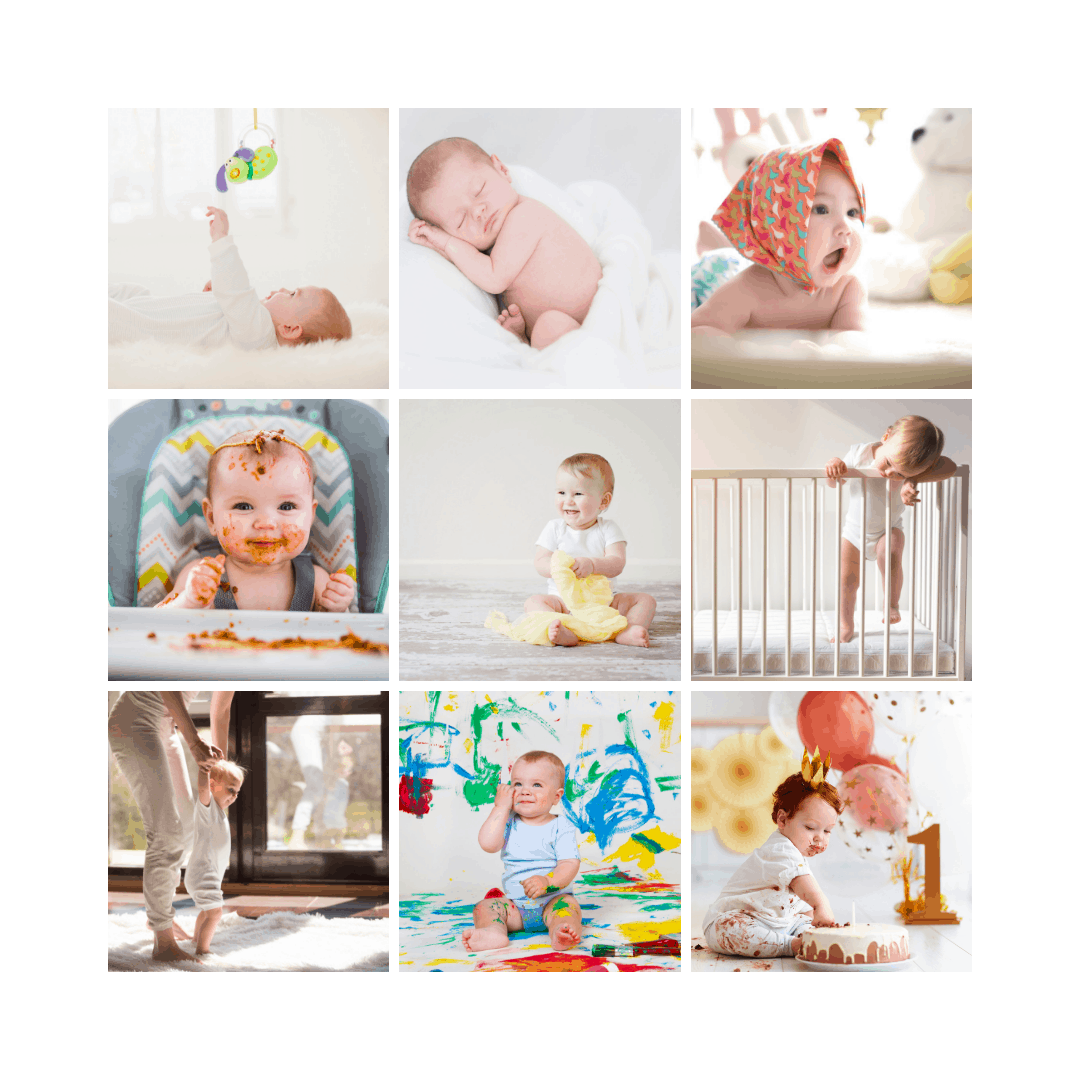 9 grid of photos showing the milestones of a child.